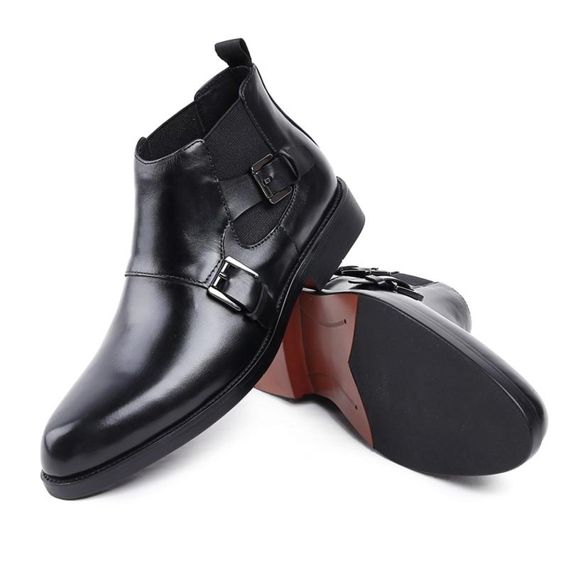 Monge Calçados Artesanal Redondo Preto Martin Couro Homem Pé Do Sapatos De Designer Dos Dedo Tiras Chelsea Boots Js35 Genuíno Britânico Homens Formal Ankle 6vwdA