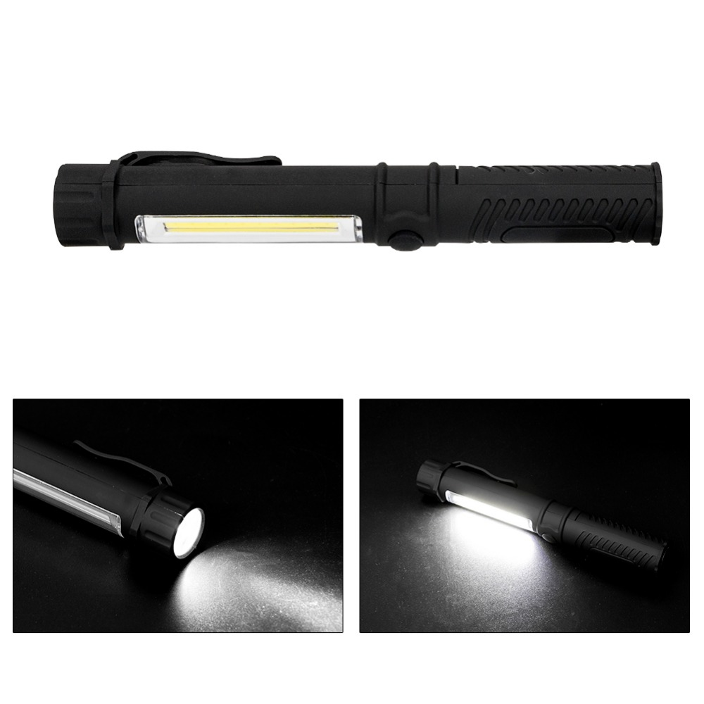 sanyi Portable Plastic COB LED Flashlight Torch Light With Magnetic Clip Working inspection lights For Camping Outdoor USE 3*AAA super bright usb charging portable mini cob led flashlight rechargeable magnetic pen clip hand torch work light inspection lamp