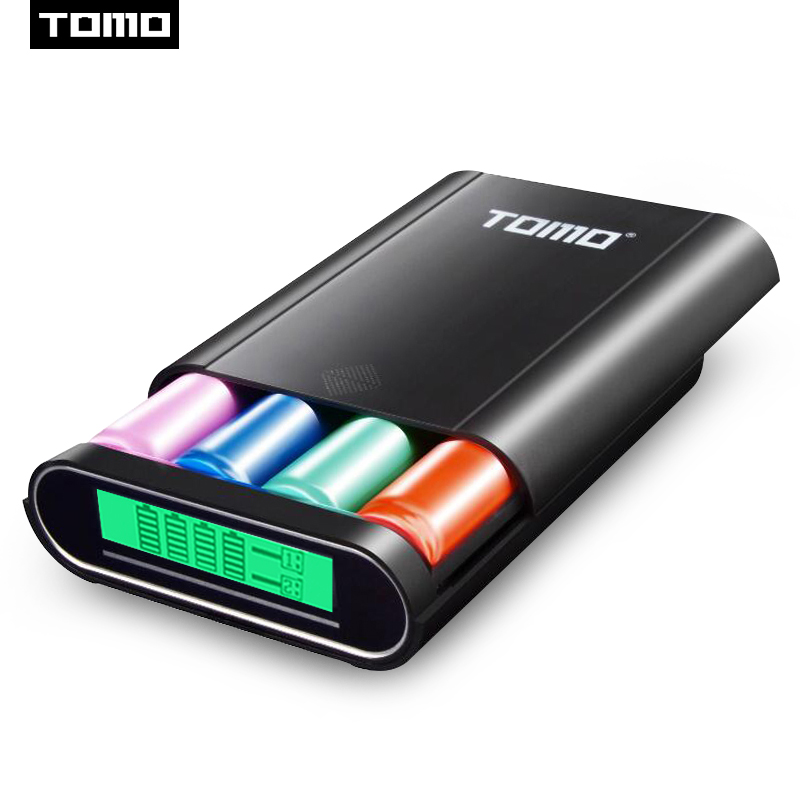 TOMO T4 Intelligent 18650 battery charger case portable DIY display 5V 2.1A output max for cellphones pad tablet