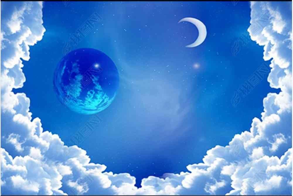Niestandardowe fototapety tapeta sufitowa 3d stylowy piękny niebieski niebo białe chmury gwiaździste niebo sufit tapety tło