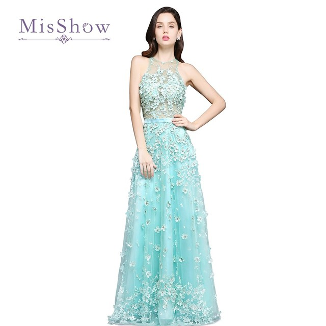 4e1a63fbe6c 2017 3D Floral Applique Lace Prom Dresses O Neck A Line Tulle Backless Mint  Beach Evening Gowns For Wedding Guest Party Dress