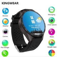 KINGWEAR KW88 Smart Watch phone 1.39 Inch Amoled screen Android 5.1 MTK6580 Quad Core Smartwatch 3G WiFi Heart Rate PK Y3 LES1