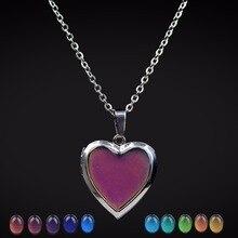 Mood Necklaces Peach Heart Love Pendant Necklace Temperature Control C