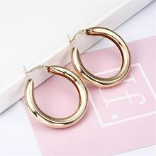 Woman Warrings Fashion Big Hollow Drop Earrings For Women Simple  Gold Color Silver Plated Geometric Round Jewelry