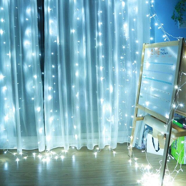 Wedding White Color Curtain Icicle String light 3*3M 300LED 110 240v ...
