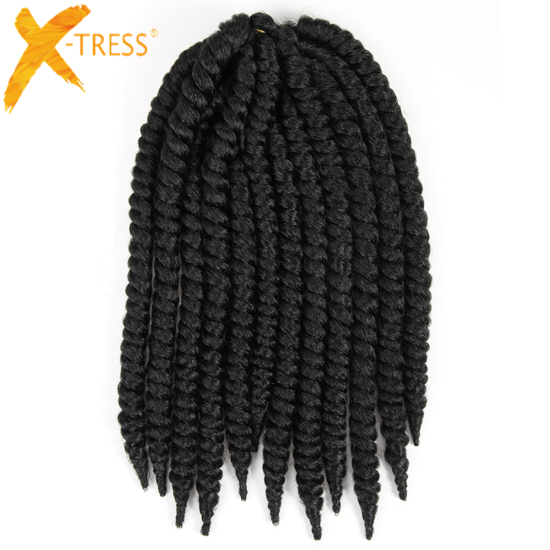 X-TRESS #1 Natural Black Omber Colors Synthetic Hair Extensions Havana Mambo Twist Braiding Hair Crochet Braids 14'' 12''