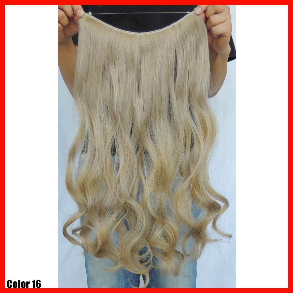20 Inch Curly Ash Blonde Halo Extension Synthetic Weave Flip In