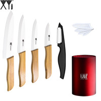 XYJ Brand Zirconia Ceramic Knife Set 3 4 5 6 White Blade Bamboo Handle Kitchen Knives