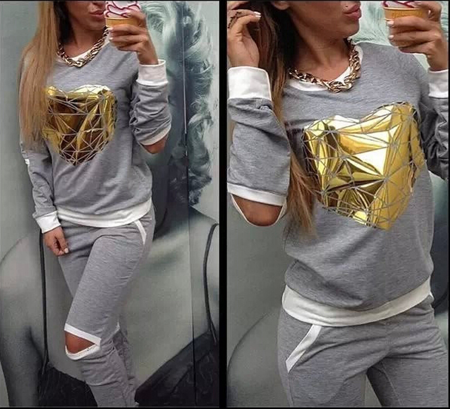 Holed Gold Heart New Suit Set 2019 Women Tracksuit Two-piece Sport Style Outfit Jogging Sweatshirt Fitness Lounge Sport Wear
