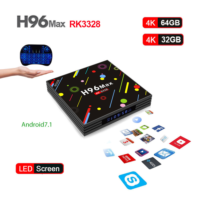 Original H96 MAX H2 Android 7.1 TV Box 4GB32GB/4GB64GB RK3328 Quad Core 4K WiFi Bluetooth 4.0 Smart TV Box Media Player PK X96