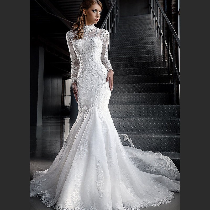 High Neck Lace Long Sleeve Modest Wedding Dresses Mermaid