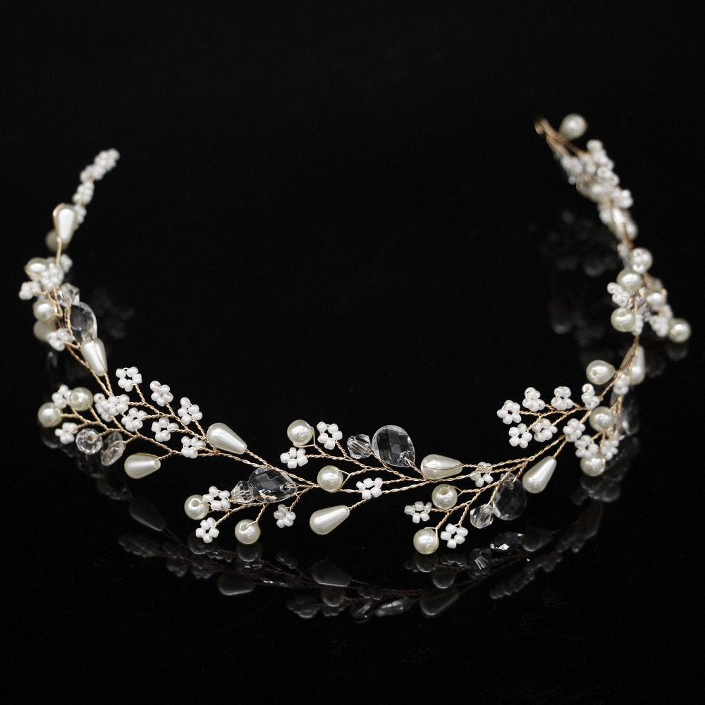 New Fashion Pearl Flower Vine Tiara Bride Head Chain Bridal Headbands Hair Ornaments Wedding Hair Accessories 1