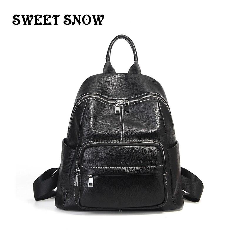 Doux neige filles en cuir véritable sacs à Dos femmes mode décontracté femme Sac à bandoulière Sac a Dos voyage dames Sac à Dos Mochilas