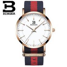 2017 Luxury Brand Switzerland BINGER Rose Gold Nylon Strap Watches Women Wristwatches Fashion Quartz watch Relogio Masculino