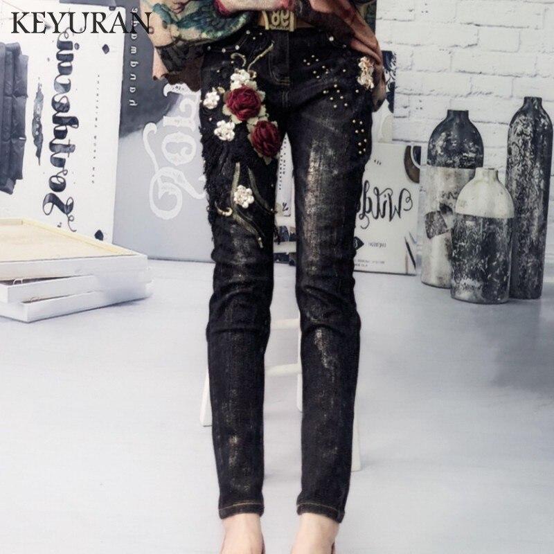 Embroidery Floral Appliques Denim   Jeans   Beading Femme Trousers Pants Women Elastic   Jeans   Pencil Denim Pants Female Sexy Skinny
