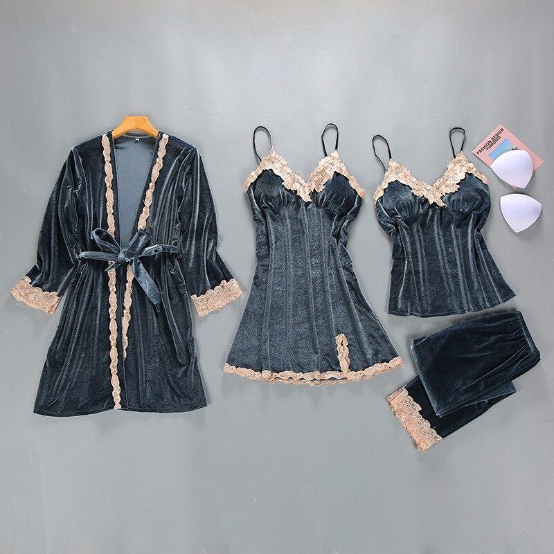 Winter Womens Velour 4PC Top Long Pants Suit Night Robe Sleepwear Sets Casual V Neck Pajamas