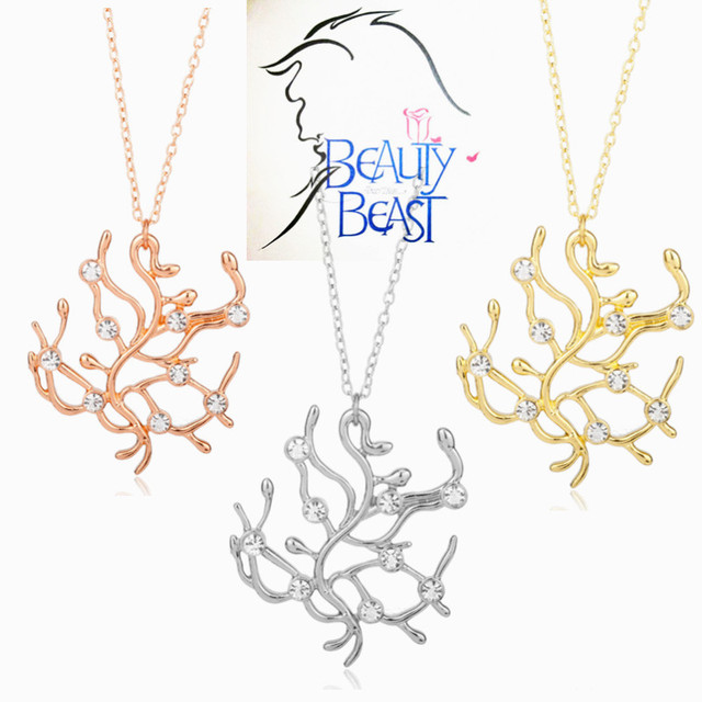Beauty and the Beast Necklace Lover Store Movie Jewelry Rhinestones Alloy Rose Trees Pendant Necklace Women Accessories choker