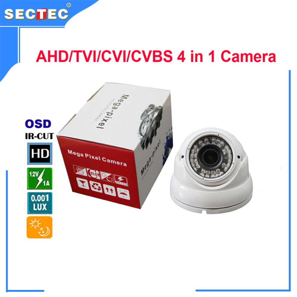 720P AHD/TVI/CVI/ 800TVL CVBS 4 in 1 Camera with IR CUT, OSD 3.0 Mega pixel 2.8-12mm varifocal lens Metal IR Dome Camera 5mp tvi 4mp ahd cvi imx326 cmos security camera 4in1 surveillance cameras ir cut dnr utc osd varifocal lens smd ir leds