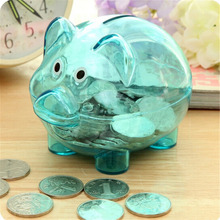 2019 New Arrival Cute Plastic Money Box Transparent Saving Case Coins Kawaii Pig Shaped Piggy Bank Childrens Gift