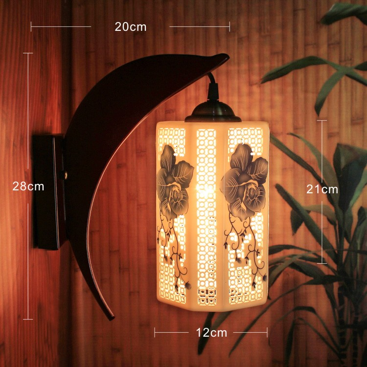 LED E27 AC 90-260V Japan Style Indoor Wall Lamps For Home Chinese White and Blue Porcelain Wall Light