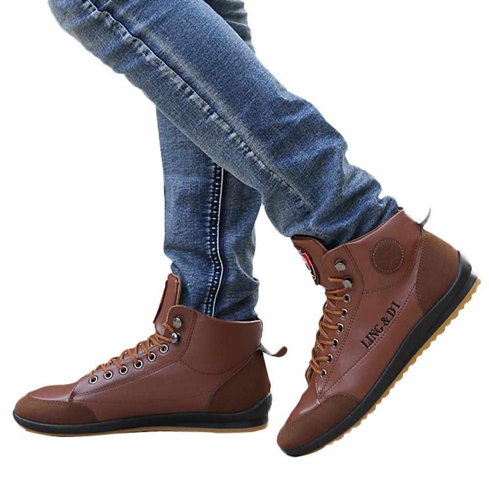 SAGACE Yeni Erkek Deri Çizmeler Moda Sonbahar Kış Sıcak Pamuk Marka yarım çizmeler Lace Up erkek ayakkabısı Ayakkabı Rahat Damla Nakliye
