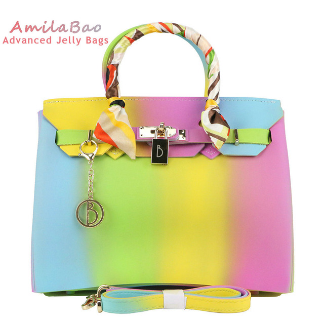 Pvc Silicone Jelly Handbags Luxury Women Bags Designer Rainbow Handbag Valentine S Day Bag Famous With