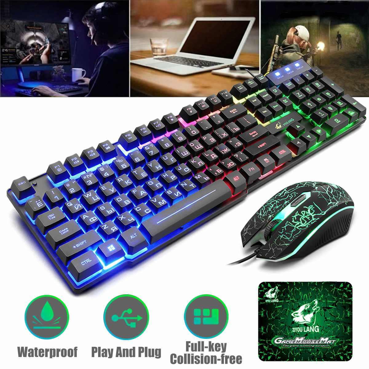 T5 Rainbow Backlight USB Keyboard 104 keys Ergonomic Gaming English Russian Keyboard And Mouse Set for PC Laptop with Mouse Pad