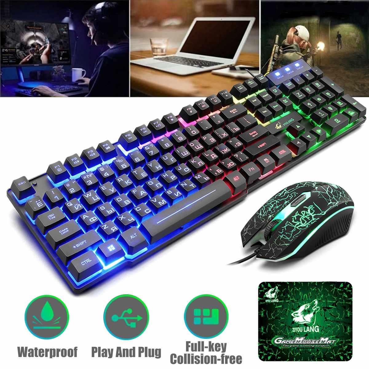 T5 arco-íris backlight usb teclado 104 teclas ergonômico jogo inglês russo teclado e mouse conjunto para computador portátil com mouse pad