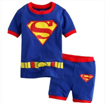 2016 Kids Super Hero Clothing Kids Boys  Sets Superman shorts Sleeve Summer Outfit Kids Clothes  cotton fit and comfortable
