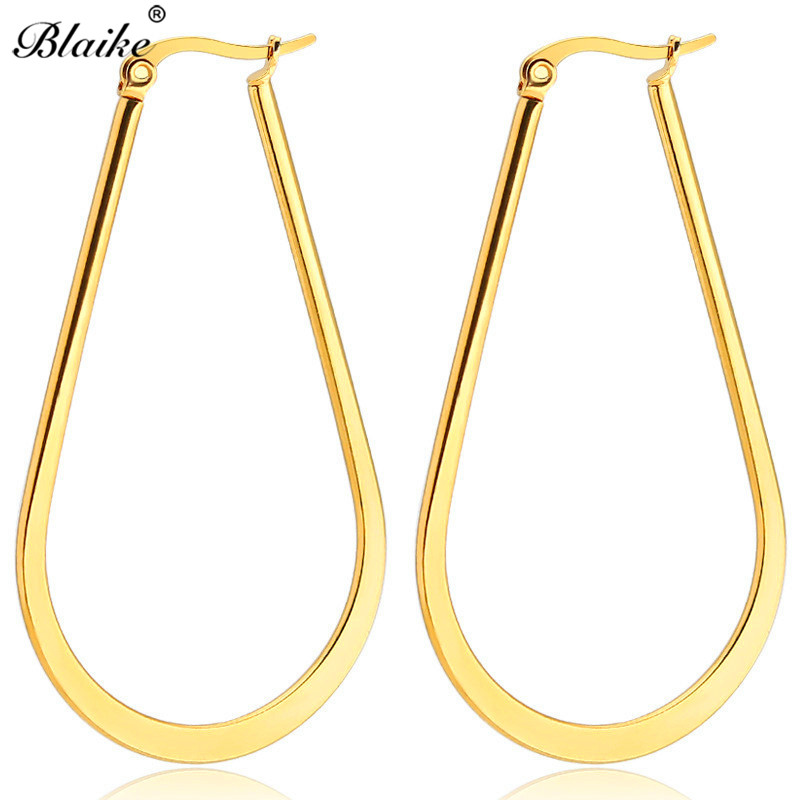 Blaike Unique U Shaped Stainless Steel Hoop Earrings For Women Vintage Gold/silver/black/rose Gold Titanium Steel Large Earrings