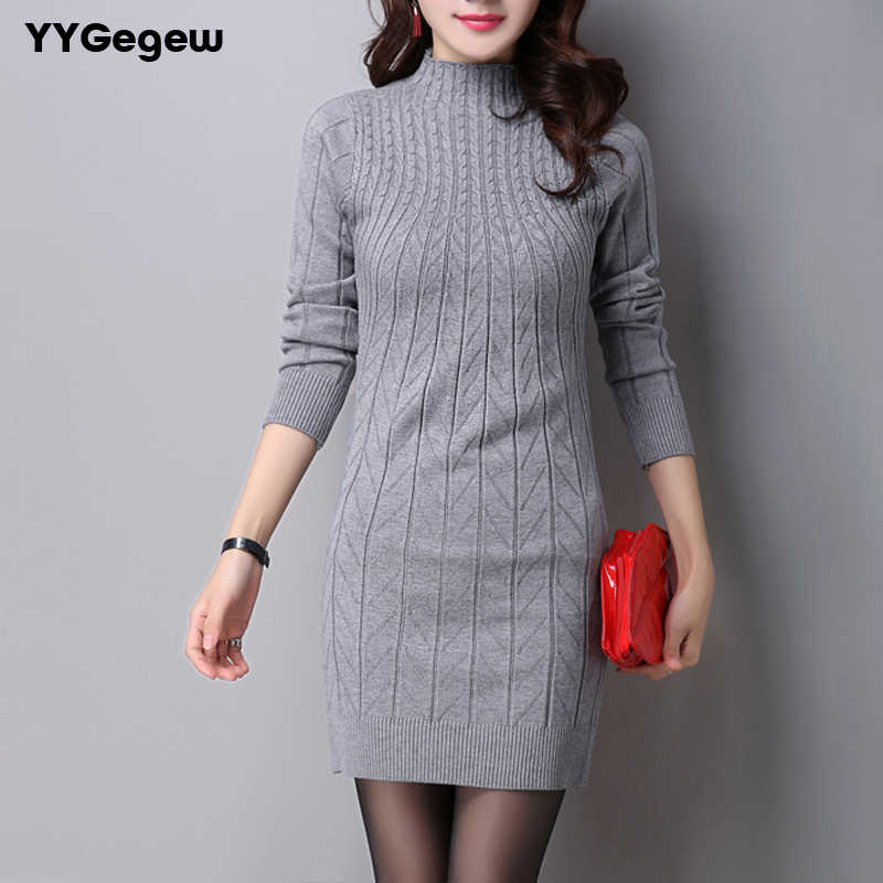 Casual Winter Dress Turtleneck Knitted Cashmer Thick Sweater