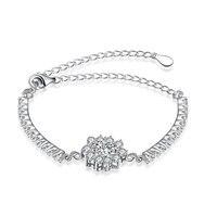 SVH050 2016 New 100 Genuine 925 Sterling Silver Bracelets AAA Zircon Sun Flower Fashion Bracelet For
