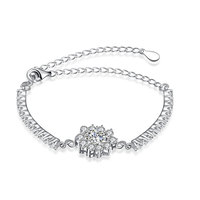 SVH050 2016 New 100 Genuine 925 Sterling Silver Bracelets AAA Zircon Sun Flower Fashion Bracelet For