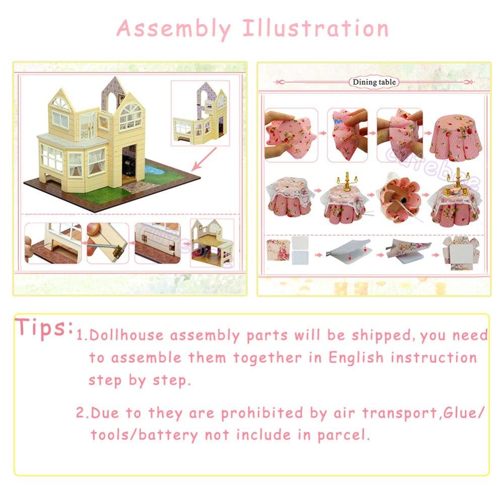 Cutebee DIY Casa miniatura con muebles LED música polvo cubierta modelo bloques De construcción juguetes para niños Casa De Boneca - 6