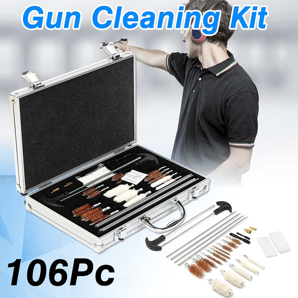106Pcs Universal G un Cleaning Tool Kit Rifle Handgun Shotgun F irearm Cleaner Pistol Pipe Mop Brush Accessory with Carry Case gigabyte ga h110m ds2 ddr3