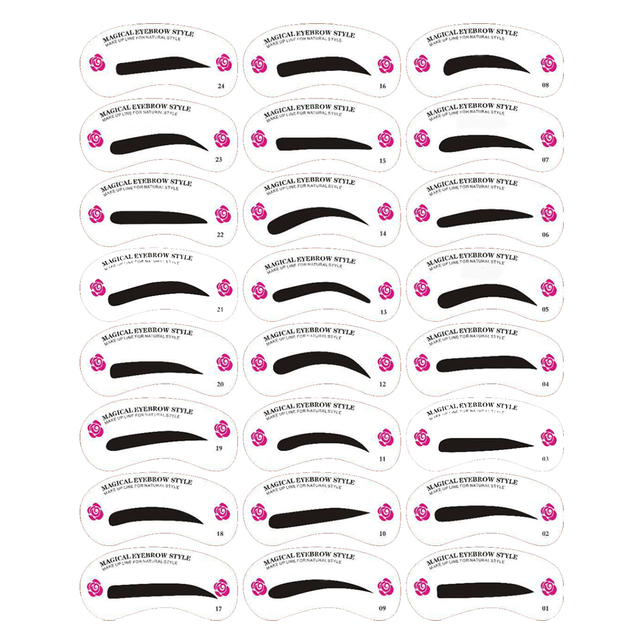 Multiple Styles Cosmetic Groom Template Card DIY Easy Shaping Reusable Eyebrow Stencil Makeup Drawing Guide Beauty Kit 24PCS Set 3