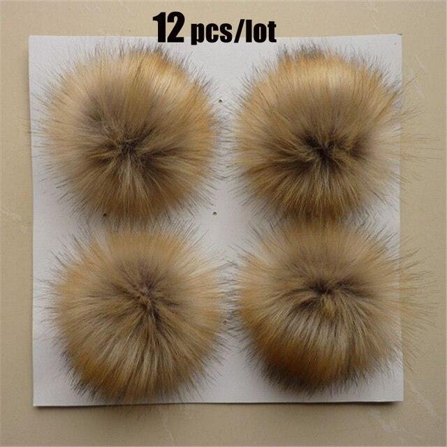 12 pcs Faux Fur 10 cm/3.9 inch Fluffy Bola Pom pom com Laço Elástico Acessórios KeyChain