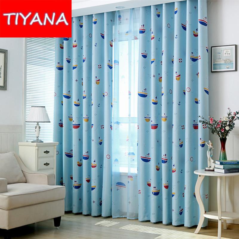 persianas cortinas de dibujos animados para nios dormitorio barco patrn azul termin cortina de tela y