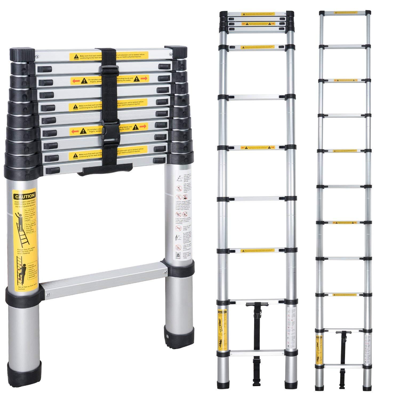 EN131 8.53ft (2.6m) Telescopic Ladder Folding Ladder Aluminum Ladder Multifunctional Household Thickening Telescopic Ladder