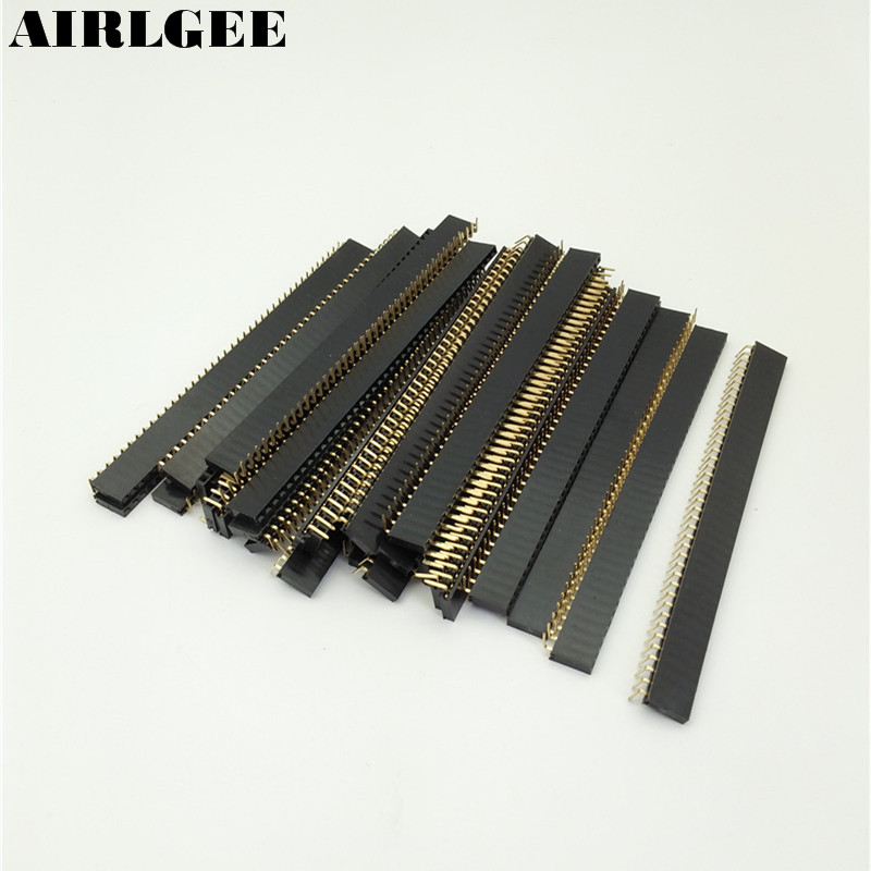 30pcs 2.54mm Pitch Right <font><b>Angle</b></font> <font><b>Female</b></font> 40 <font><b>Pins</b></font> PCB <font><b>Header</b></font> Connector Single Row Free shipping image
