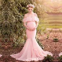 Accessoires de photographie de maternité vêtements de grossesse coton sirène trompette sans bretelles robe de maternité photo de tir robe enceinte