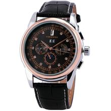 Winner Men Automatic Mechanical Watch Leather Strap Rhinestone Decorated Supersize Case Business Box