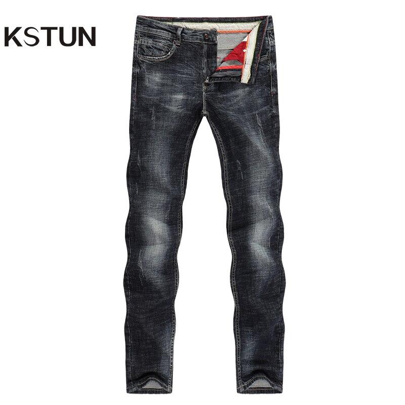 KSTUN Black Jeans Men Slim Straight Thick Elastic Business Casual Denim Pants Male Trousers Pantalones Hombre Jeans Para Hombre