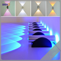 Indoor 2W LED Wall Lamp Modern AC110V 220V Acrylic Material Aluminum Sconce Bedroom Wall Light Fixtures