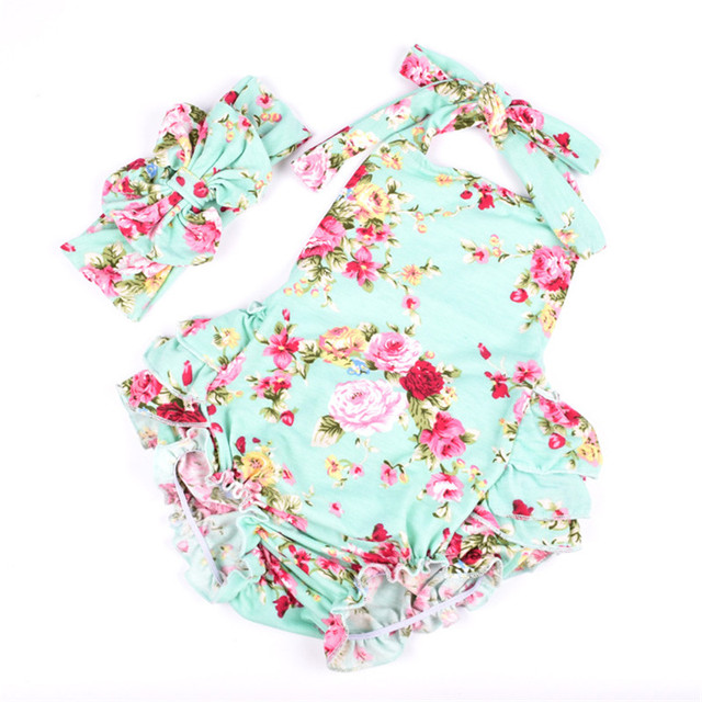 7b409118a 2018 New Summer Baby Romper Girl clothes Mint Floral Baby Romper+Bow  Headwear Outfits Sunsuit 1-4Y Newborn baby Girl clothes
