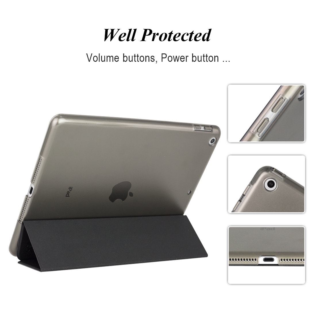 For Ipad 9 7 2017 Case, Ultra Slim PU Leather Smart Cover+PC Hard Back  Tri-Fold Stand For Ipad Case 9 7 A1822 A1893