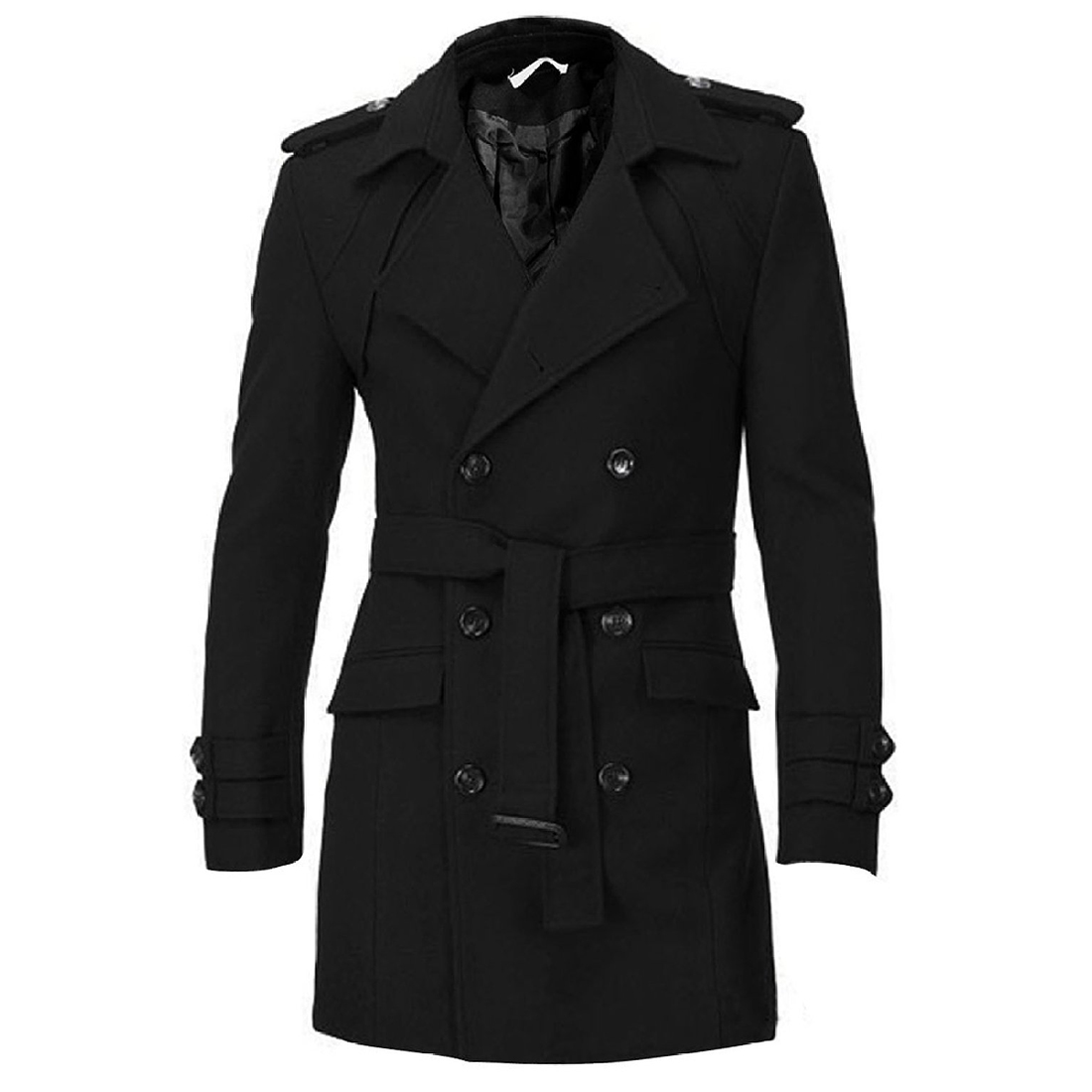 SAF Men Epaulets Slim Fit Double Breasted Belted Worsted Coat 2 COLORS