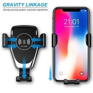 Image 3 - DCAE cargador de coche inalámbrico Qi, carga rápida, 10W, para iPhone 11 Pro X 8 XS XR Samsung S20 S10, soporte de teléfono de carga rápida
