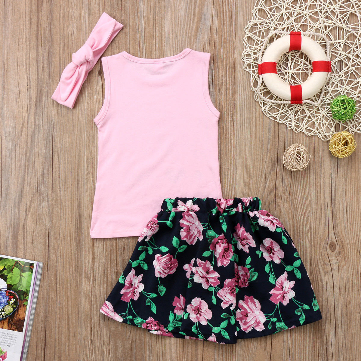 UK 3PCS Newborn Toddler Baby Girl Outfits Clothes Romper Tops+Strap Skirt Dress