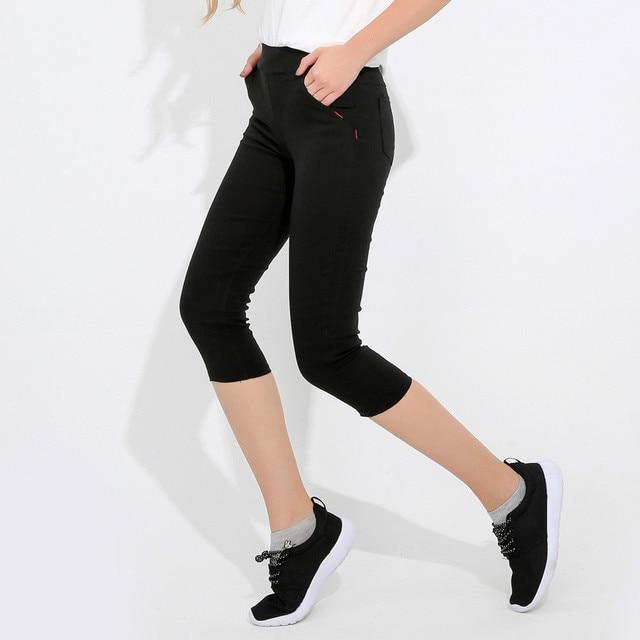 33092aca094 Plus Size 5xl Capris for Women Big Black White Elastic Capri Pants Women  Skinny Stretch Pencil